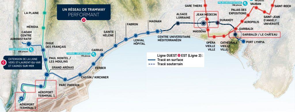 nice tram line 2 map
